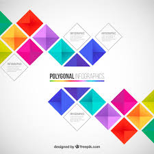 polygonal infographic in colorful style vector free download
