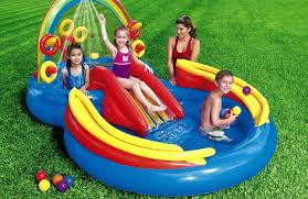 inflatable water slide kids swimming pool play center outdoor