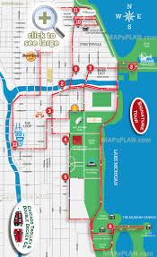 Chicago Neighborhood Map Poster by Hop On Hop Off Signature Sightseeing Open Top Double Decker