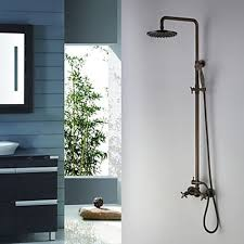 Antique Brass Tub Shower Faucet With 8 Inch Shower Head And Hand