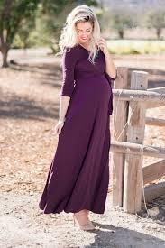 Maternity Drape Dress Purple Draped 3 4 Sleeve Maxi Dress