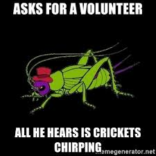 Crickets Chirping Meme - asks for a volunteer all he hears is crickets chirping marcel