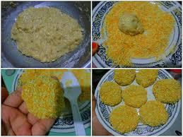 membuat nugget ayam pakai tepung terigu pisang yang dihaluskan dicur dengan telur gula dan tepung