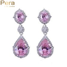 diamond teardrop earrings pera sparkling silver color pink cubic zirconia bridal