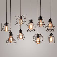 Edison Pendant Lights Vintage Industrial Metal Cage Pendant Light Hanging L Edison