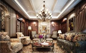 british neoclassical interior wooden walls and fabric sofa