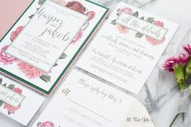 floral wedding invitation suite all that glitters