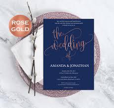 pdf wedding invitations navy blue and rose gold wedding invitations rose gold