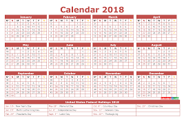 printable calendar year on one page printable calendar 2018 with holidays full year 4 templates 2018