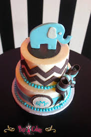 baby shower cake boy blue chevron elephant 3 tiers u2013 pixy cakes