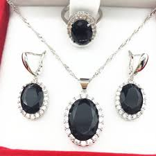 silver jewellery necklace sets images 2016 new black garnet crystal 925 silver jewelry sets for women jpg