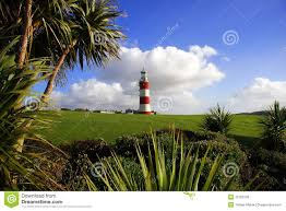 lighthouse with palm tree plymouth uk royalty free stock photos