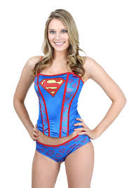 superman printed corset panty