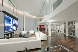 home theater modern design interiors riverside penthouse features modern mezzanine with glass