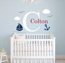 Boy Nursery Wall Decals Custom Nautical Name Wall Decal Sailor Room Decor Baby Boys