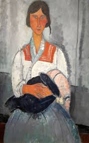 modigliani woman with a fan gypsy woman with a baby 1919 by amedeo modigliani
