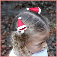 christmas hair bows boutique christmas hat hair clippie in and white for