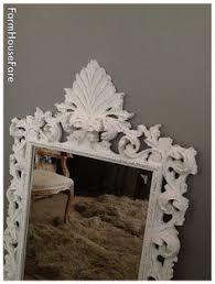 ornate baroque vintage wood frame mirror painted paris gray
