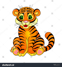 tiger cartoon isolation on white background stock vector 112035197