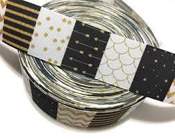 black and gold ribbon black gold ribbon etsy