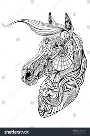 relax coloring page portrait horse stock vector 450304423