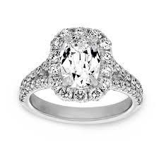 cushion cut split shank engagement rings henri daussi elongated cushion cut halo split shank