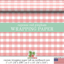 gingham wrapping paper cayenne gingham wrapping paper custom by pineandberryshop