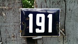 vintage french house number house door number 191 plate blue