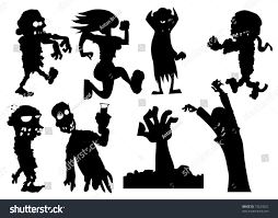 collection silhouette halloween characters including zombies stock