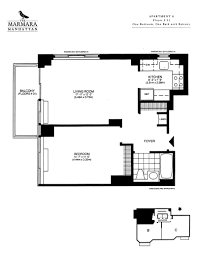600 Square Foot Apartment Floor Plan by 1 Bedroom The Marmara Manhattan