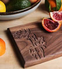 walnut cheese board with poppy flower design home dining