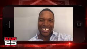 michael strahan new haircut michael strahan gives a shout out to the wwe universe for raw 25
