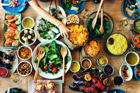 cuisine concept food catering cuisine culinary gourmet buffet concept stock
