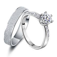 his and hers rings engravable 0 6 carat diamond his and hers anniversary rings set