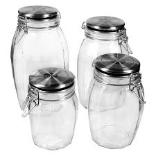 Glass Kitchen Canister by Global Amici Lock Tight Glass Jars Set Of 4 Walmart Com