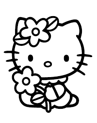 kitty flowers coloring pages kids printable free