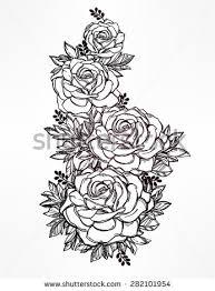 Rose Flower Design Vintage Floral Highly Detailed Hand Drawn Stock Vector 282101528