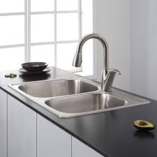 interesting black porcelain kitchen sink design with window