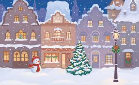 Winter Houses by Merry Christmas Christmas Tree New Year Snowman Snow Houses Town