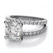 2 5 Cushion Cut Diamond Engagement Ring Shank Cushion Cut Sidestones Engagement Ring Setting In 18k White
