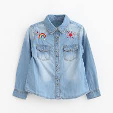 baby blue blouse baby denim shirt pretty embroidery denim shirts for