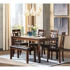 dining room with bench contemporary 6 piece dining room table set with bench by signature