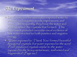 negative energy experiment the hidden messages in water ppt video online download