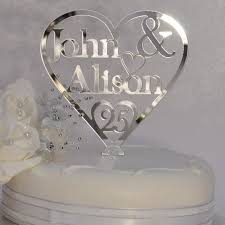 heart cake topper 25th silver wedding anniversary personalised names heart cake