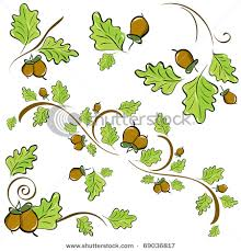 image pattern made of oak leaves and acorns vector illustration