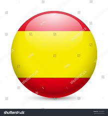 flag spain round glossy icon button stock vector 199109975