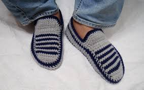 crochet knitted slippers for him and her yarn shoes men