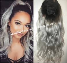Hair Color To Cover Gray Balayage Dip Dye 8a Remy Human Hair Drawstring Ponytail Hair