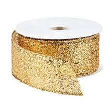 gold glitter ribbon the container store gold glitter wired ribbon polyvore