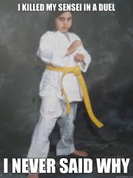 Karate Memes - i killed my sensei in a duel i never said why karate spic